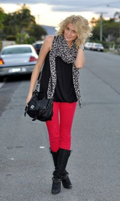 BIG leopard scarf over black Tee and bright bottoms