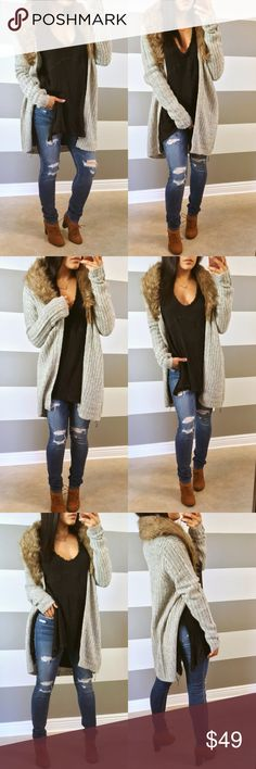 •NEW• Faux fur heather gray cardigan Open styled cardigan with a chic faux fur accent. Great thing about this one? It's removable! Soft knit, slightly oversized.   •Modeling size- S •My stats- 5' 108lbs 34C •Prices are Firm •NO Trades •Non smoking home Sweaters Cardigans