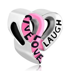 Charms Beads - pink ribbon bow heart charm bracelet live love laugh european bead Image.