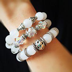 White gemstones...bicones ab and silver beads bracelet