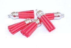 Tassels - 10 Pretty Melon Tassel Charms - Small Tassels - Silver Cap Key Chain Tassels - Tassels For Jewelry Making, Wine Charms - TC-S144 #jewelrysupplies #pursuepretty #tasselsforjewelry