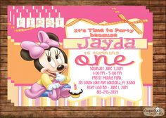 Minnie Mouse First Birthday Invitation by CoopedUpPixels on Etsy