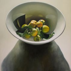 """Julie Davidson """"Persimmons in White Bowl""""  122x122cm"""
