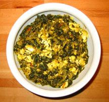 Palak Paneer - a family favorite -fry paneer before adding to mustard greens or spinach