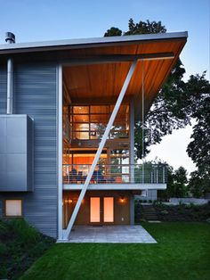 Leschi Residence - contemporary - exterior - seattle - by Adams Mohler Ghillino Architects (This is the fireplace I want at Bop's)