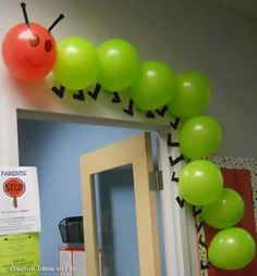 """Using balloons to create a classroom caterpillar is a creative idea. This would be great to use for """"The Very Hungry Caterpillar"""" by Eric Carle. Hungry Caterpillar Party, Caterpillar Craft, Counting Caterpillar, The Very Hungry Caterpillar Activities, Classroom Door, Eyfs Classroom, Classroom Themes, Classroom Birthday Displays, Infant Classroom"""