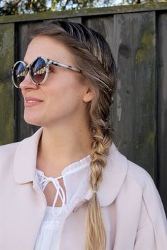 Heartfelt Hunt - Spring Pink - Spring pink coat, blouse with bell sleeves, destroyed jeans, sunglasses, bag, pink ballet flats and blond four strand twisted side braid - Spring Fashion