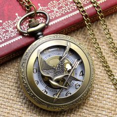 Crane Hold Arrow Pocket Watch Necklace Pendant Chain Xmas Gift
