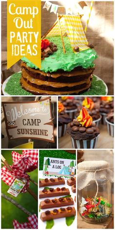 A Camp Sunshine camping party with themed foods, campfire cupcakes and mason jar bug favors!  See more party ideas at CatchMyParty.com!