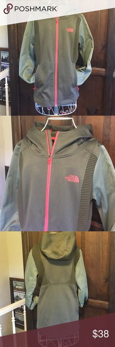The North Face zip up fleece jacket Very gently used North Face hooded fleece jacket. Size medium, body is a subdued army green, sleeves are light green, zipper trim is bright pinkish red. Bought last Christmas and only wore it a couple times. Fleece lining is still like new and isn't pilled. The North Face Jackets & Coats