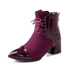 Lackleder Frauen Chunky Heel wies Toe Booties / Ankle Boots (weitere Farben) - EUR € 20.62