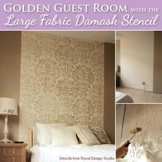 Use stencils and metallic paint to create a custom stenciled headboard in an elegant, relaxing guest bedroom that oozes sparkle and style Bedroom Crafts, Guest Bedroom Decor, Guest Bedrooms, Bedroom Wall, Bedroom Ideas, Large Bedroom, Damask Wall Stencils, Stencil Painting On Walls, Tv Decor