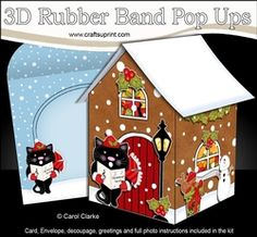 3D Rubber Band Pop Up Christmas Card - Little Cat Is Carol Singing At The Christmas Gingerbread House
