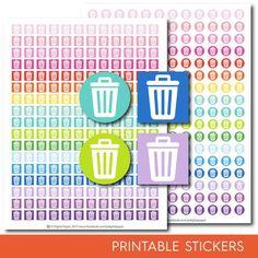 Trash stickers, Trash planner stickers, Trash printable stickers, Trash Can sticker, Garbage stickers, Recycle stickers, STI-142