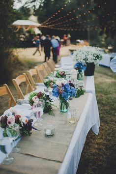 A laid-back summer bbq wedding on a farm by Carina Skrobecki - Wedding Party by WedPics Summer Wedding Centerpieces, Wedding Ceremony Decorations, Wedding Venues, Wedding Summer, Trendy Wedding, Wedding Ideas, Garden Wedding, Table Decorations, Wedding Inspiration
