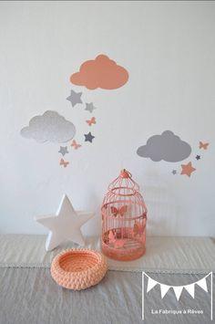 Sur commande - Stickers nuages et étoiles abricot pêche corail clair argent gris