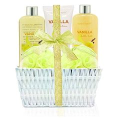 Spa Gift Kit for Women: Home Spa Basket Bath Set Scented with Vanilla Handmade Basket Wrapped Luxurious 5 Piece Bath Body Set Diy Christmas Gifts For Friends, Christmas Gift Baskets, Christmas Gifts For Girlfriend, Homemade Christmas Gifts, Christmas Diy, Diy Gift Baskets, Basket Gift, Raffle Baskets, Spa Basket