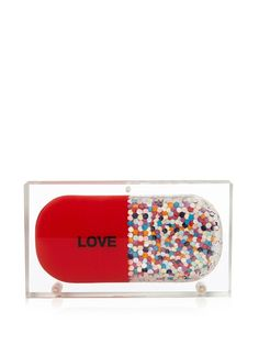 Sarah's Bag Love Pill confetti Perspex clutch