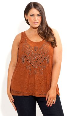 City Chic - BEADED TRIBE LACE TOP - Women's plus size fashion