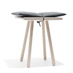 stool cushion held on by leather tie. V.cool Georg stool by Christina Liljenberg Halstrom.