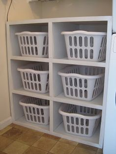 Perfect..... Laundry Basket Organizer I would make 2 high and 3 wide