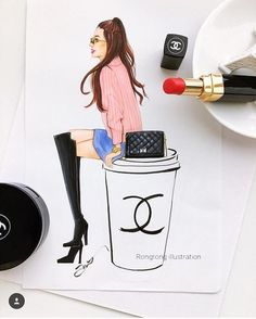 A almond latte from Chanel, please? Happy Monday everyone #mondaycoffee #coffeelover #chanel #fashionillustrationoftheday #fashionillustrator #beautyillustrator #beautyillustration #creativeminds #mondaymotivation #illustrationoftheday #artlicensing #houston #插画 #fashionsketch