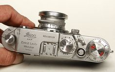 Leica IIIc 35mm Rangefinder (1940-46) with Red Dial, slow speed dial on front, flash synch plug on back and 3.5cm Summaron lens.