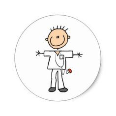 Male Stick Figure Nurse Tshirts and Gifts Classic Round Sticker
