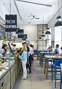 Seafood Shop, Seafood Market, Seafood Restaurant, Restaurant Design, Bistro Interior, Fresh Food Market, Commercial Office Design, Fish And Chip Shop, Supermarket Design
