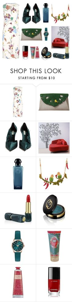 """Mother Nature at the Office"" by signorinapersonalshopper ❤ liked on Polyvore featuring Diane Von Furstenberg, Charlotte Olympia, Balenciaga, York Wallcoverings, Hermès, Les Néréides, Oribe, Gucci, Henry London and Melli Mello"