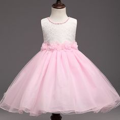 5fbd4b2412c Girls Prom Lace Dress for Kids Pink Clothes Girl Sleeveless Wedding Dress  Flower Girls Dress Monsoon