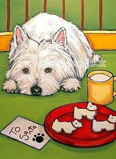 Highlands Terrier, West Highland Terrier, Westie Puppies, Westies, Surprised Dog, Christmas Drawing, Christmas Paintings, Living With Dogs, Up Dog