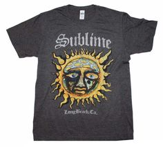 Officially licensed Sublime t-shirt featuring the iconic Sublime sun logo. Men's standard fit 50% cotton / 50% polyester men's t-shirt. Heather charcoal color.