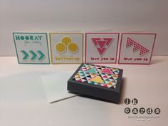 Control Freaks December Blog Tour jk cards My second project is a cute little box that contains four notecards that could easily be slipped into someone's bag or briefcase to brighten their day. The box is made with the Envelope Punch Board.
