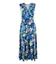 Blue Multi Floral V Neck Midi Dress - Dresses - Clothing