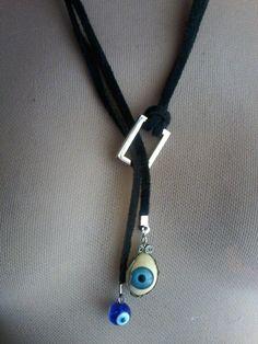 MARLY THIBES: Cordão couro olho #collares #collaresbisuteria #collaresdebisuteria #bisuteria #bisuterias #pulseras #pendientes