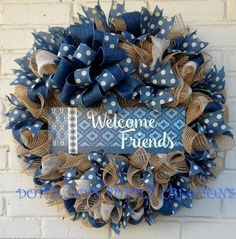 Country Jean Jute Mesh Every day, All Season Welcome Friends Wreath by dottiedot05 on Etsy https://www.etsy.com/listing/264023678/country-jean-jute-mesh-every-day-all