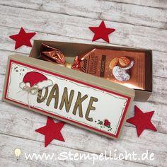 kleine Schachtel mit Anleitung als weihnachtlich verpacktes Danke mit Stampin´Up Weihnachtsmütze
