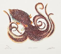 """Little Purple Octopus"" by Matthew Smith (10x10 copperblock etching, $280 framed)"