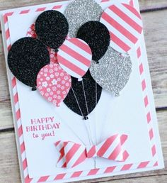 Punch art happy birthday card featuring Stampin UP! new Party Pants stamp set and balloon bouquet punch. Bday Cards, Kids Birthday Cards, Handmade Birthday Cards, Diy Birthday, Birthday Card Making, Birthday Greeting Cards Handmade, Birthday Greetings, Birthday Images, Funny Birthday
