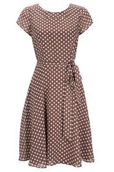 Taupe Polka Dot Dress