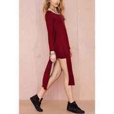 Yoins Burgundy High Slit Knit Dress -Burgundy  S/M/L/XL/XXL (€25) ❤ liked on Polyvore featuring dresses, burgundy, cocktail dresses, slit dress, long sleeve dresses, knit dress, burgundy long sleeve dress and pink body con dress