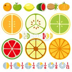 More Fraction Fruit Royalty Free Stock Vector Art Illustration Teaching Fractions, Fractions Worksheets, Kids Math Worksheets, Math Fractions, Math Activities, Maths, Math For Kids, Fun Math, Diy For Kids