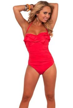 Adjustable String Halter Ruffle Top One Piece Bathing Suit Swimsuit Swimwear - List price: $69.99 Price: $34.99