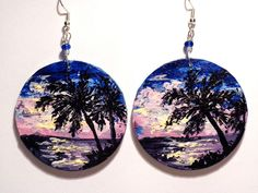 #painted #earrings  Black Rose's Handmade Things #palm tree #Bahamas #tropical #handmade