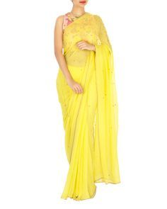 61af10c128423a Neon yellow sari with pink embroidered blouse | Shop now:  www.thesecretlabel.com