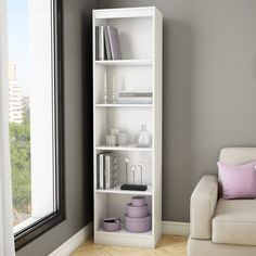 ** for playroom South Shore Axess Collection Narrow Bookcase - The South Shore Axess Collection Narrow Bookcase is perfect for storing a lot of books in a small patch of real estate. A great choice for sma. Narrow Bookshelf, White Bookshelves, 5 Shelf Bookcase, Horizontal Bookcase, Bookshelf Storage, Bookshelf Design, Ikea Furniture, Furniture Making, Living Room Furniture