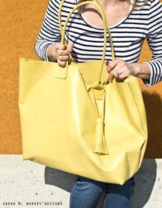 sarah m. dorsey designs: DIY Leather Tote + Tassel | Giveaway