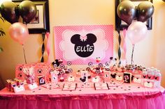 Michelle's Party Plan-It.where every day is reason to party! Party planning tips, recipes, inspiration and more! Minnie Mouse Theme Party, Mouse Parties, Girl Parties, Mickey Mouse, Mickey Birthday, First Birthday Parties, Birthday Ideas, Party Layout, Candy Party