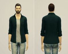 Open shirt edit in 12 solid colors at Rusty Nail • Sims 4 Updates